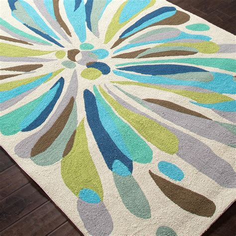 Blue And Green Outdoor Rug Jaipur Rugs Colours Flowerburst 3 6 X 5 6 Indoor Outdoor Rug Blue Green Shopperschoice