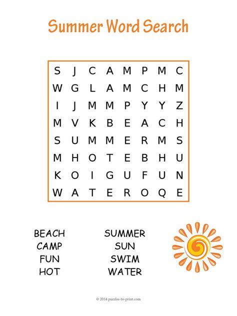 printable large letter word search easy summer word search