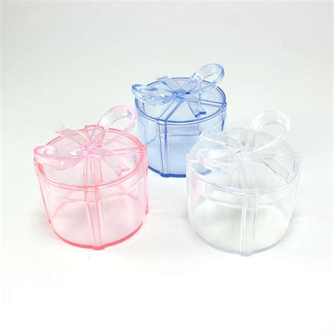 maple craft clear round gift box with bow plastic favor