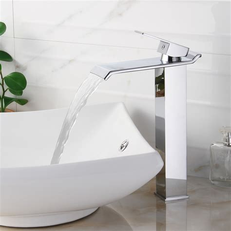 waterfall faucet for vessel sink elite 8818c chrome finish waterfall design single lever