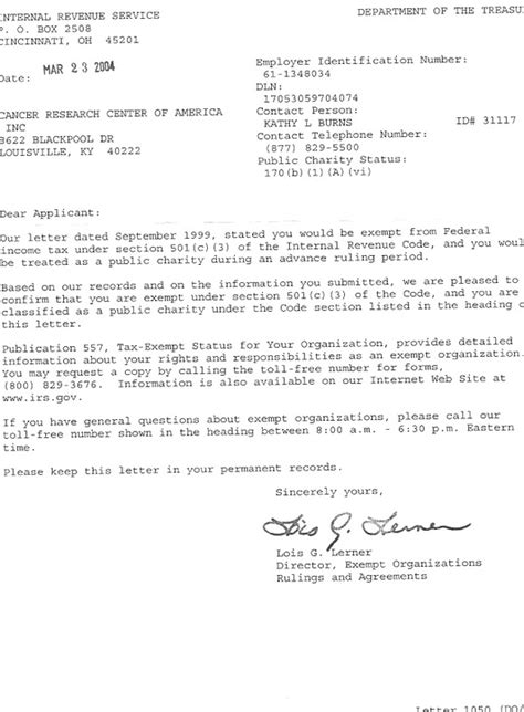 Cancer Research Donation Letter Irs Letter Cancer Research Center Of America Inc