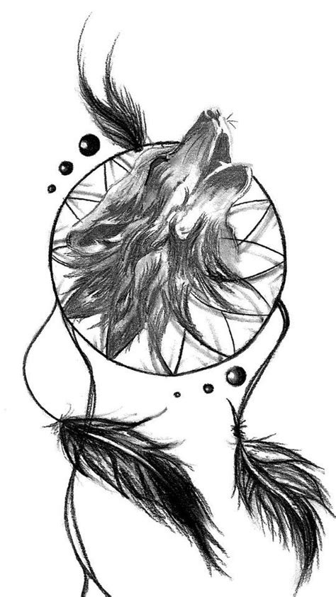 wolf and dreamcatcher tattoo wolf catcher ideas