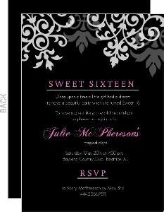 black and white 16th birthday invitations sweet 16 birthday invitations purple trail