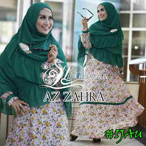 Gamis Syar I 01 Hijau az zahra hijau baju muslim gamis modern