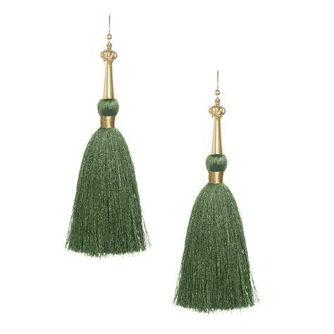 olive green silk tassel earrings with gold cap tassel jewelry