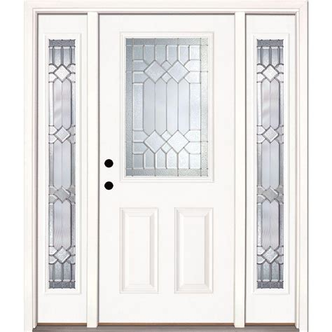 Front Entry Door With Sidelites Feather River Doors 63 5 In X81 625 In Mission Pointe Zinc 1 2 Lite Unfinished Smooth Right