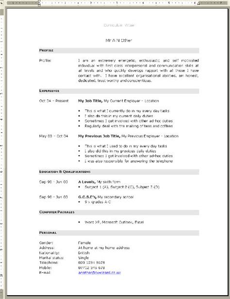 Resume Templates Uk Free Resume Exle Blank Cv Template Free Resume Templates For Microsoft Word Blank Cv