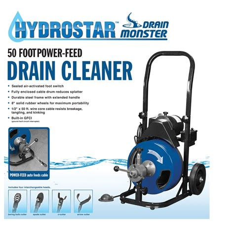 50 Ft. Commercial Power Feed Drain Cleaner with GFCI