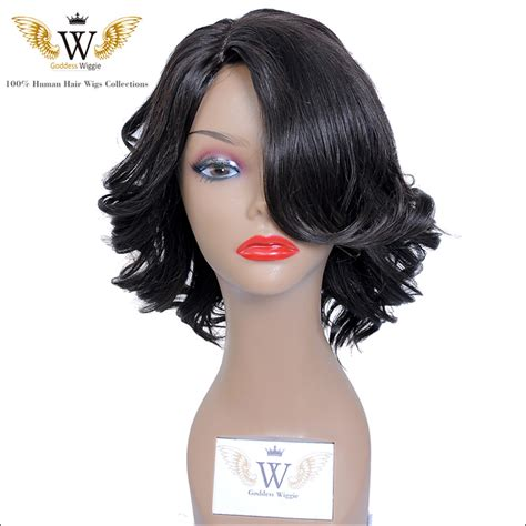 6a 150density glueless full lace short curly bob wigs with side bangs brazilian lace front human