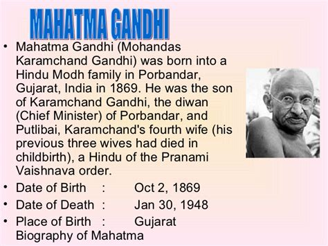 biography of mahatma gandhi from birth to death freedom fighter
