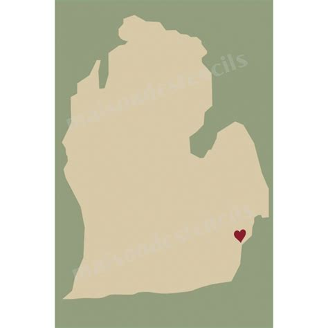 michigan state map  heart  stencil