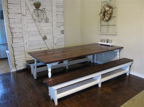 white bench table kitchen dining room with rustic wood rectanle table with