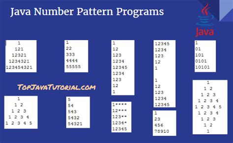 Pattern For Numbers In Java | 10 different number pattern programs in java top java