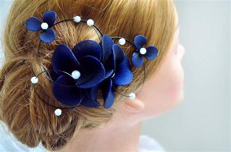 Wedding Hair Accessories Navy by Floral Headpiece Navy Headpiece Bridal Hair Clip Wedding