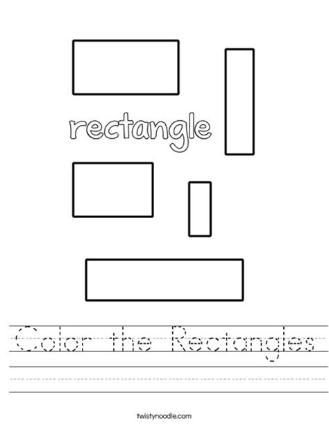 Rectangle Worksheet by Color The Rectangles Worksheet Twisty Noodle