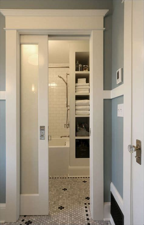 pocket doors  small bathrooms    shower  toilet door layouts