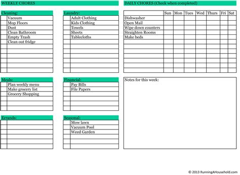 household roster template household chores weekly checklist running a household