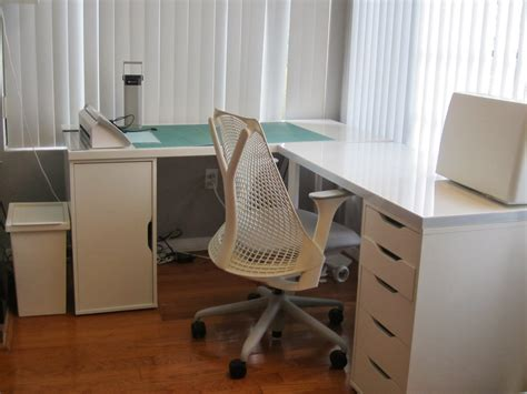 L Shaped Desk Home Office Ikea With Modern White L Shaped
