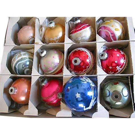 vintage christmas glass mica ornaments 1940 s 50 s from
