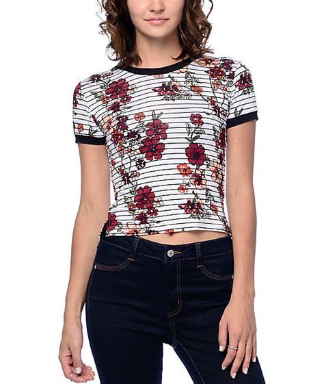 Crop Stripes Tees empyre cali floral striped white crop ringer t shirt at zumiez pdp