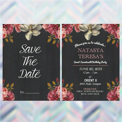 design kartu undangan sweet 17 invitation birthday party sweet seventeen images