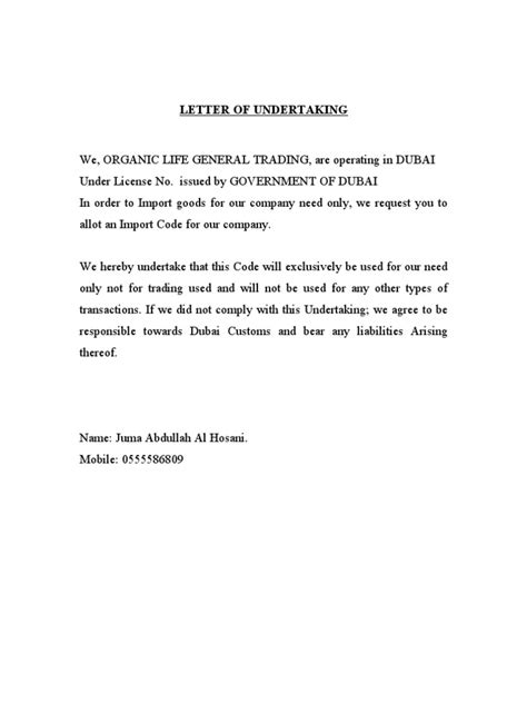 Personal Loan Undertaking Letter Letter Of Undertaking For Importer
