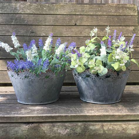 Garden Tubs And Pots Vintage Style Grey Set Of 2 Metal Garden