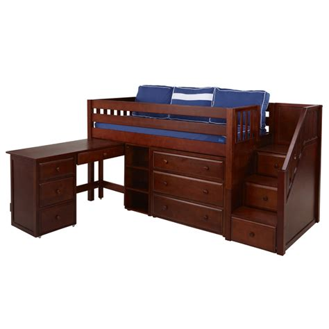 Beds And Dressers by Great Low Loft Bed With Dresser Bookcase Desk And Staircase