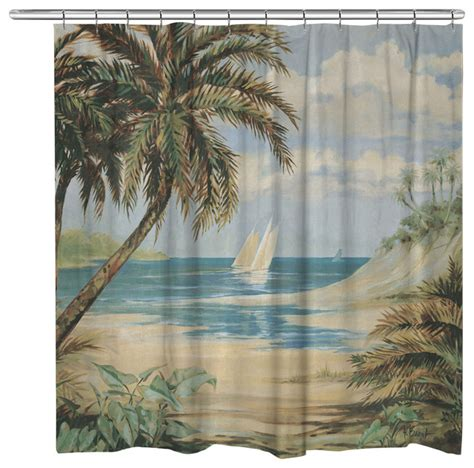 beach style shower curtains laural home palm bay shower curtain beach style shower