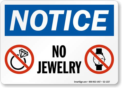 Design Your Own Kitchen Free by No Jewelry Osha Notice Sign Sku S2 1227 Mysafetysign Com