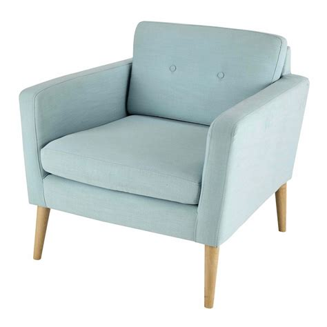Light Blue Armchair Fabric Vintage Armchair In Light Blue Noe Maisons Du Monde
