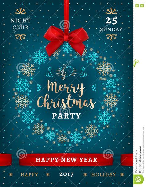 party title for christmas new year poster and happy new year placard stock vector image 81164817