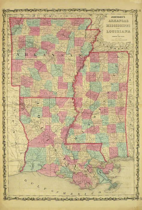 arkansas mississippi louisiana map original art
