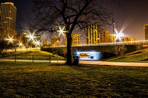 Photo Chicago City Usa Lincoln Park Bridges Parks Night Street Park Cities Lights