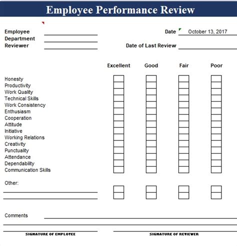 simple employee performance review template excel and word