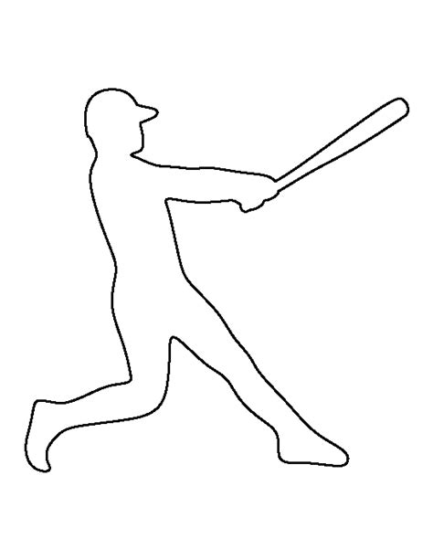 Sports Player Outline by Printable Baseball Player Template