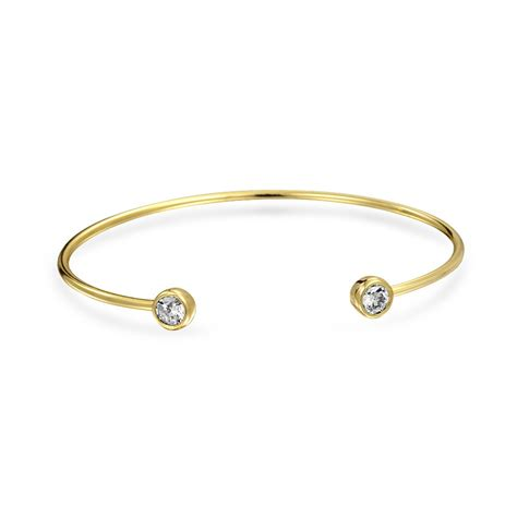 Gold Plated CZ Cuff 925 Silver Stackable Thin Bangle Bracelet 5mm