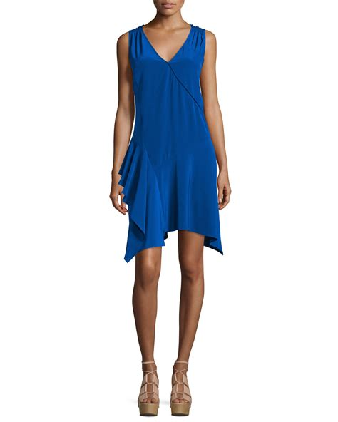 Tank Dress 10 by 10 Crosby Derek Lam Sleeveless Asymmetric Draped Tank Dress In Blue Lyst