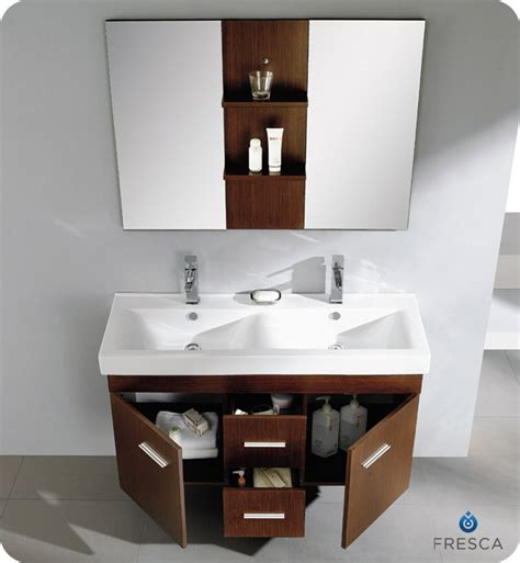 dual sinks small bathroom brown wooden bathroom double vanity having round white