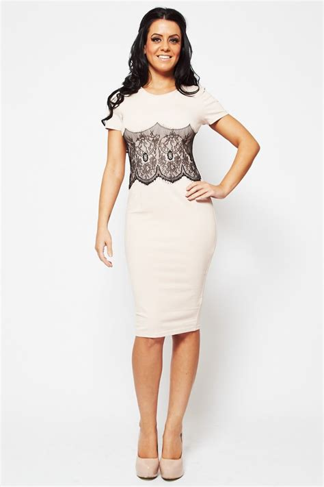 Sleeved Lace Panel Dress black capped sleeved lace panel bodycon midi