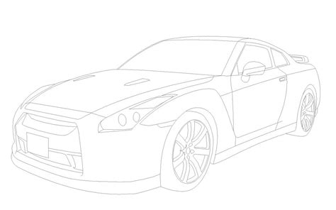 R Drawing Lines by How To Draw Nissan Gtr 35