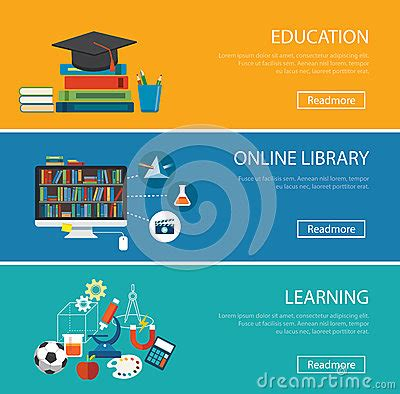 design online library flat design concept for education online library