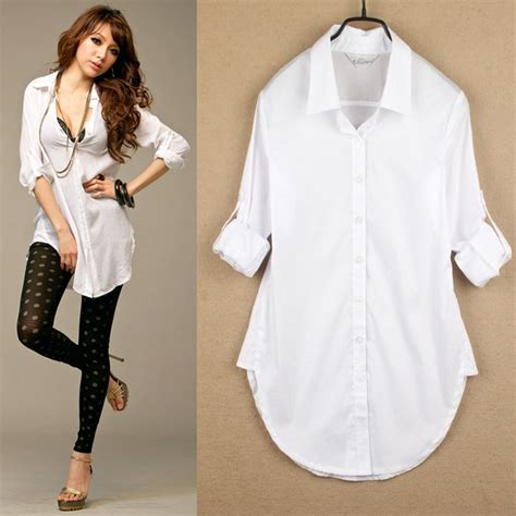 Blouse Katun White classic womens boyfriend wind white shirt sleeve tops blouses ebay