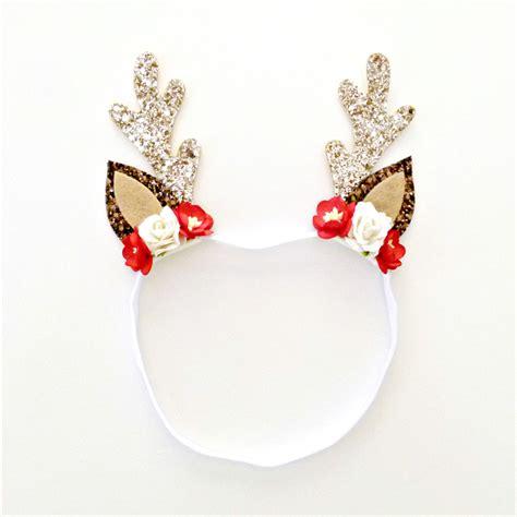 christmas glitter reindeer antler headband floral