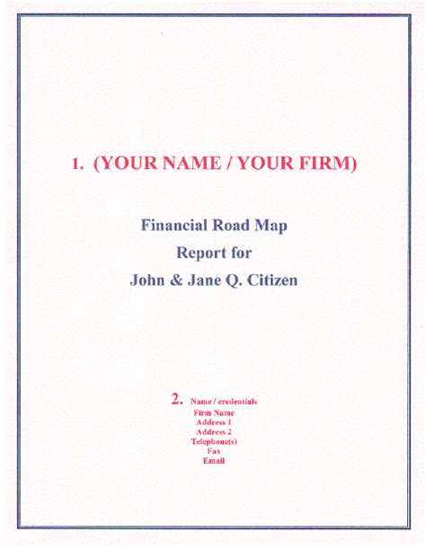 cover letter for a report your financial road map