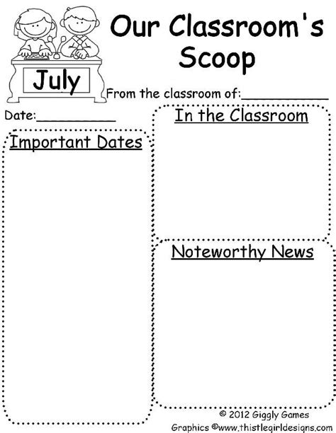 free letter templates for teachers july newsletter template education