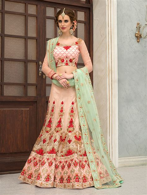 details about ghagra choli lacha choli lehanga langa skirts langa choli buy online france peach ethnic indian punjabi