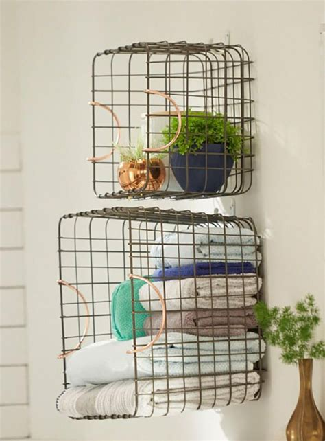 hang baskets on bathroom wall target emily henderson bathroom blue white green eclectic