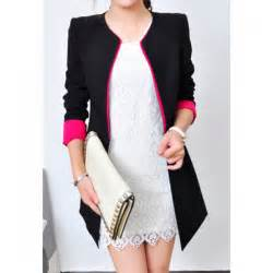 color blazer color block fashionable style polyester sleeves