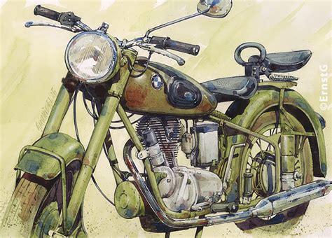 Motorrad Bilder Gemalt by Bild Arbeitsgeraete Maschinen Oldtimer Aquarell